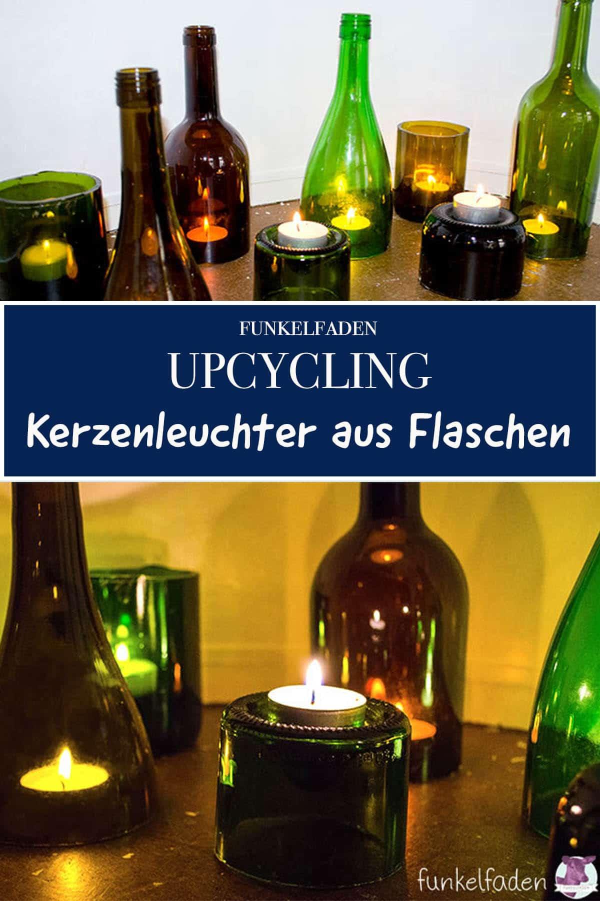 Upcycling Anleitung - Kerzenständer aus Glasflaschen selbermachen DIY