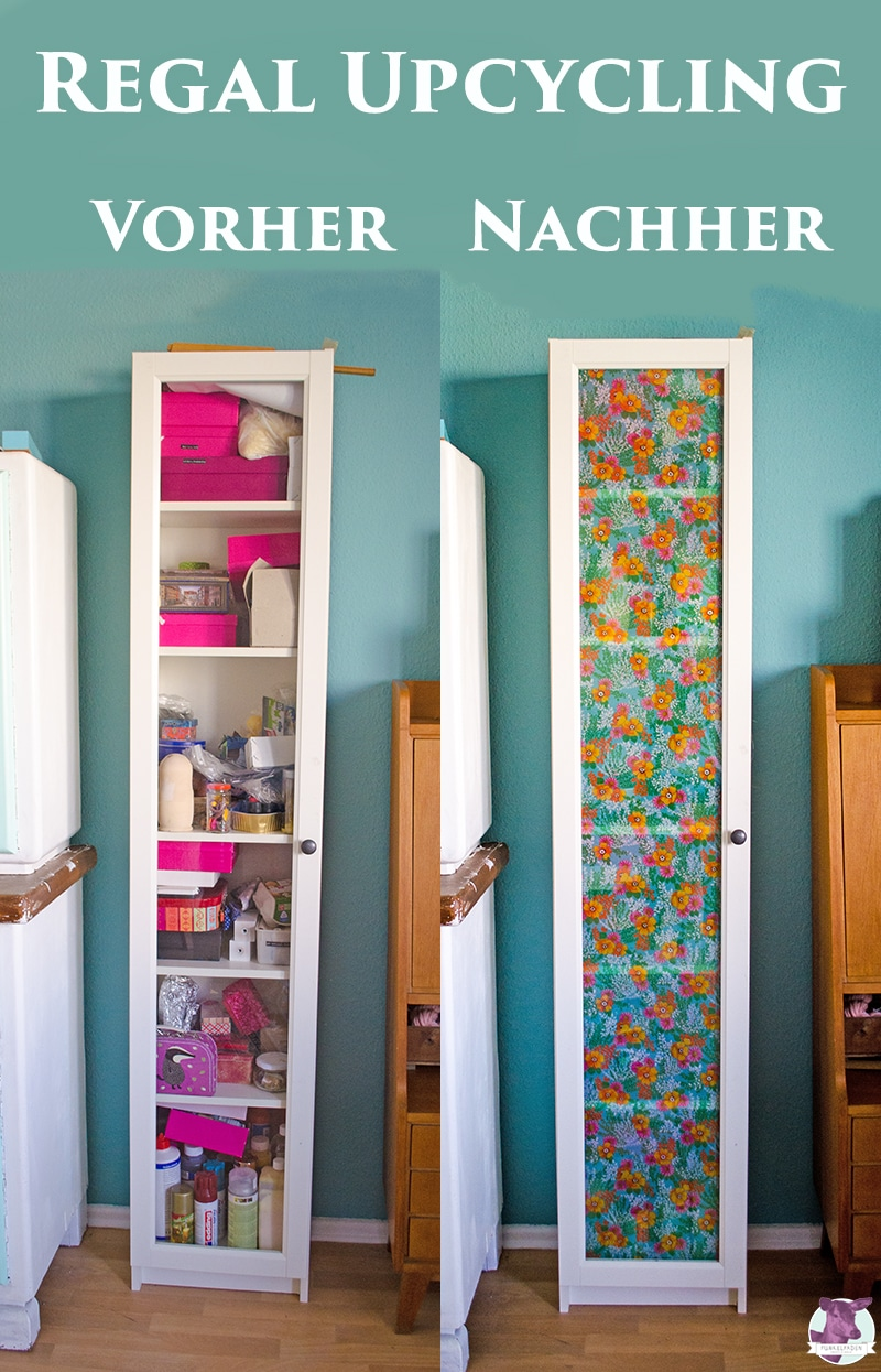 Upcycling Schrank mit Stoff beziehen - IKEA hack Billy Regal