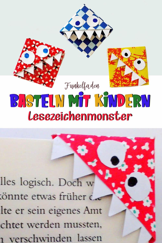 Basteln mit Kindern - Anleitung Monster Lesezeichen basteln